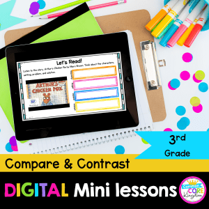 RL.3.9 Compare and Contrast Series Digital Mini Lessons Cover showing use of digital resource in Google Slides on iPad