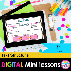 RI.3.8 Text Structure Digital Mini Lesson Cover showing use of digital resource in Google Slides on iPad