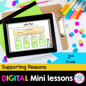RI.2.8 Supporting Reasons Digital Mini Lessons Cover showing use of digital resource in Google Slides on iPad