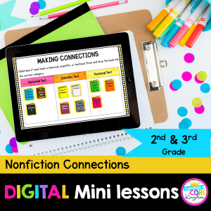 Nonfiction connections digital mini lessons in google slides for 2nd and 3rd grade cover showing digital reading resources