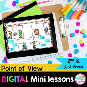 Digital mini lessons point of view for 2nd and 3rd grade cover showing preview of digital reading resources.