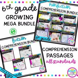 6th grade reading comprehension mega bundle cover showing passages and question sets for ela