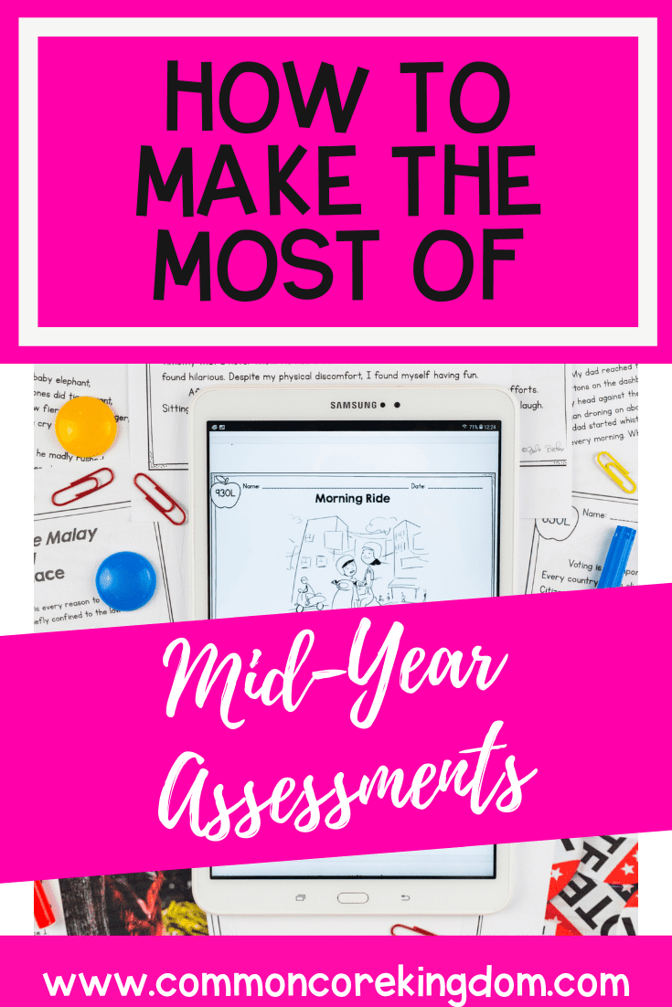 How to Make the Most of Mid-Year Assessments blog cover showing text and images of benchmark tests