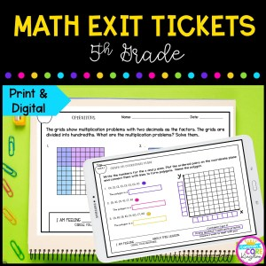 5th Grade Math Exit Tickets in Google Slides and Printable Format