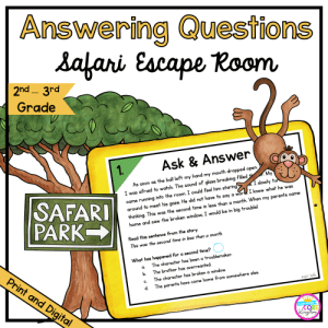 answering questions safari escape room for 2nd & 3rd grade in printable and digital format