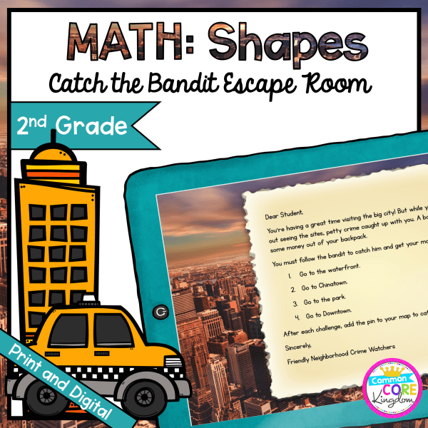 Catch the Bandit Geometry Escape Room for 2nd Grade in Google Slides & Printable Format