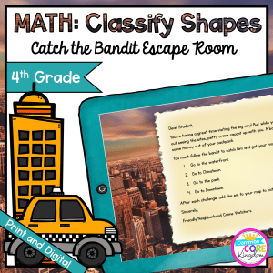 Catch the Bandit Geometry Escape Room for 4th Grade in Google Slides & Printable Format
