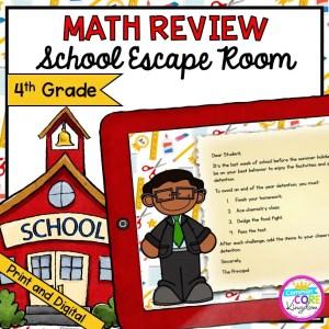 4th Grade Math Review - School Escape Room in Digital & Printable Format