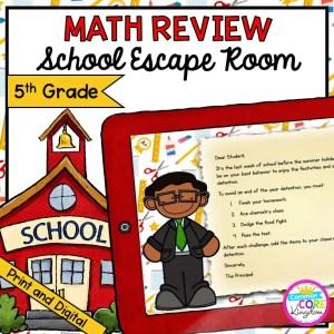 5th Grade Math Review - School Escape Room in Digital & Printable Format