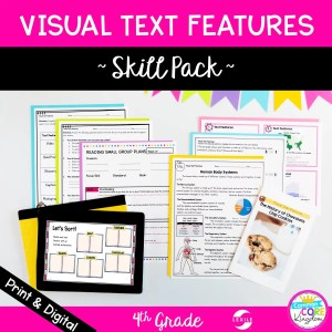 Skill Pack: Visual Text Features in Nonfiction - 4th Grade | RI.4.7 Classroom & Distance Learning