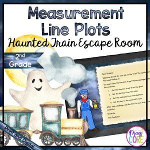 Line Plots Haunted Train Trip Escape Room - 2nd Grade Math - Digital & Printable