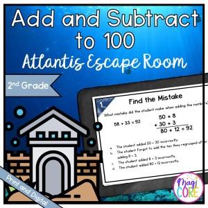 "Add & Subtract to 100 - 2nd Grade Math ""Atlantis"" Escape Room - Print & Digital"
