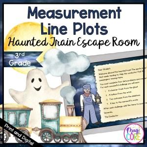 Measurement Line Plots Haunted Train Escape Room-3rd Grade Math-Digital & Print