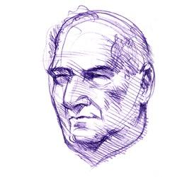 Portrait de Duraty, au stylo bleu, par Richard Martens.