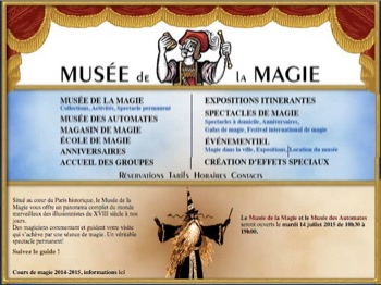 Page d'accueil du Site du Musée de la Magie. Dessin James Hodges.