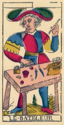 Lame I : Le Bateleur du Tarot de Marseille, dans la version de l'Imprimerie Nationale.