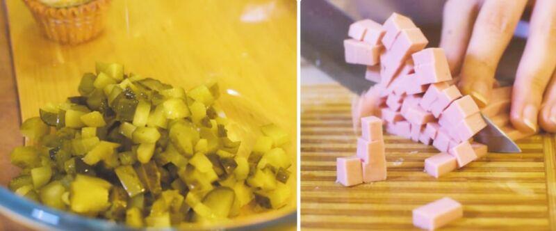 Рецептті дайындаудың суреті: ең дәмді оливье қалай пісіруге болады, № 7 қадам