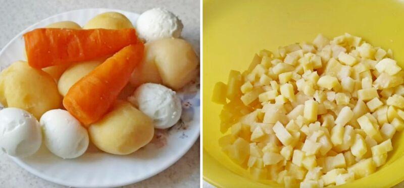 Рецептті дайындаудың суреті: ең дәмді оливье қалай пісіру керек, №17 қадам