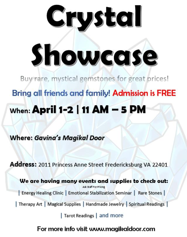 Gem Show Crystal Showcase Fredericksburg VA Gavinas Magikal Door FREDERICKSBURG GEM SHOW