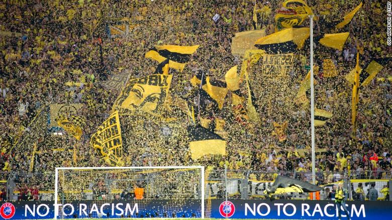 Aspecto de la tribuna del estadio del Borussia Dortmund.