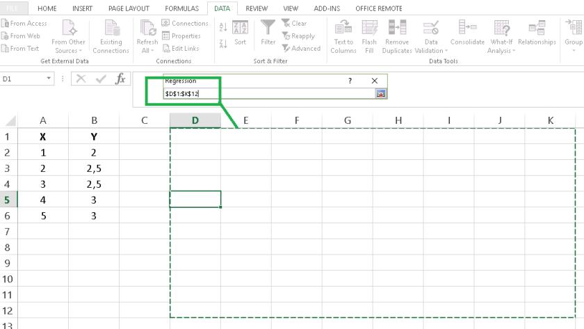 meletakkan analisis regresi menggunakan analysis toolpak excel
