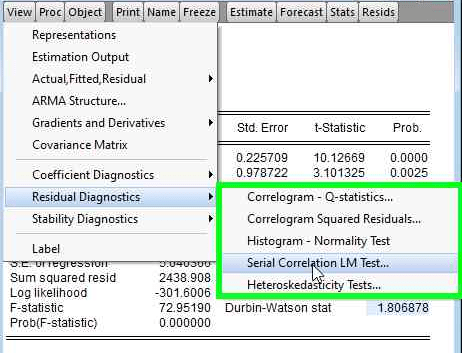 klik Uji Autokorelasi Breusch-Godfrey Pada Model Regresi Menggunakan Eviews