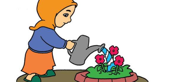Anak menyiram bunga