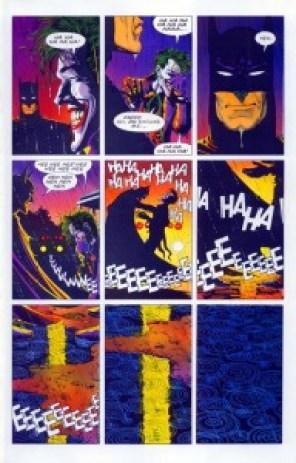 Whether this depicts Batman strangling the Joker is a matter of fan debate.