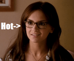 What is with the trope of only unattractive girls wear glasses? You see it over and over again in movies and, as evidenced by this picture, Laney was obviously hot to begin with. I hate movie.