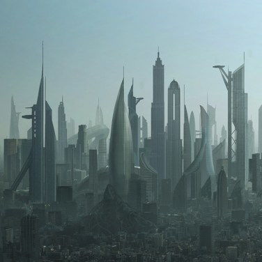 Futuristic Los Angeles skyline matte painting created for director Joseph Kahn's dark Mighty Morphing Power Rangers short film