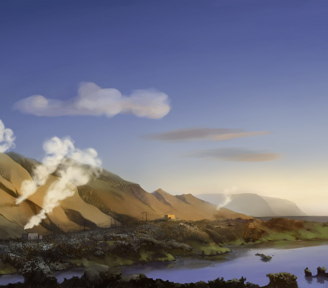 Geothermal energy illustration for an agency client for a series of billboards promoting green energy.