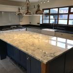 How Stunning Is This Super White Dolomite Island Complemented By Angola Black Granite Worktops Chester Cheshire North Wales North West Uk