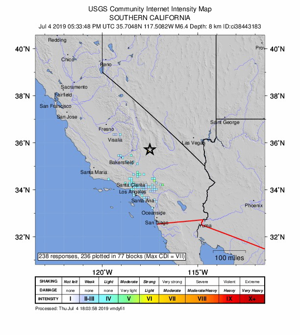 6.4 Magnitude Earthquake In California