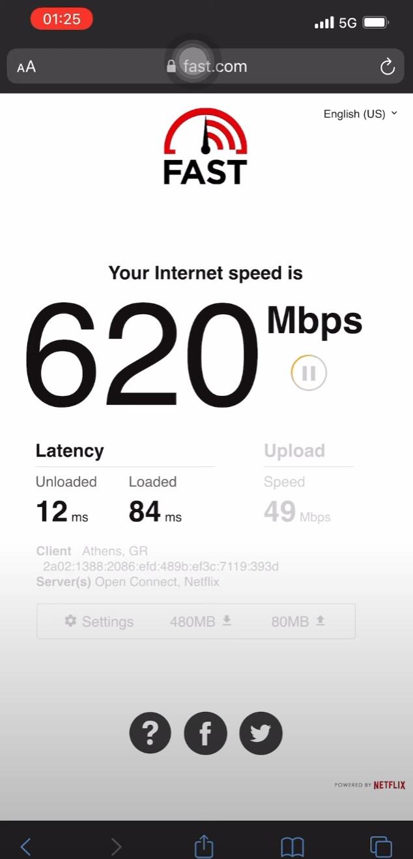 Δοκιμή 5G στην Αθήνα με IPhone 12 Pro Max χρησιμοποιώντας COSMOTE ESIM