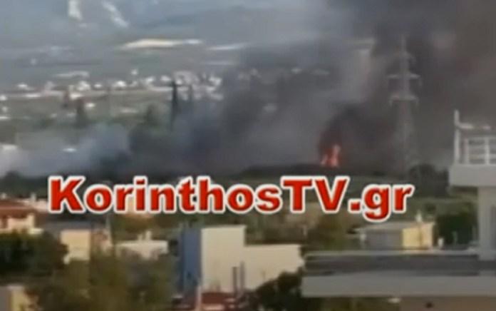 Φωτιά κοντά σε σπίτια στο Κιάτο – Στις αυλές των σπιτιών οι φλόγες