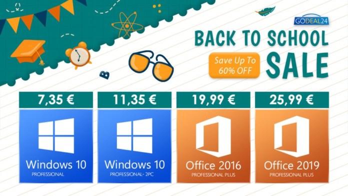 Godeal24 Back To School Προσφορές: Office με κάτω απο 20€ και Windows 10 με 7