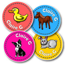 Pets Personalised Round Name Labels
