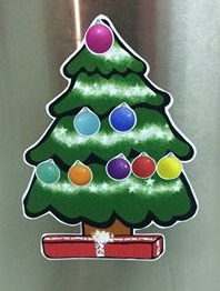Christmas tree on fridge