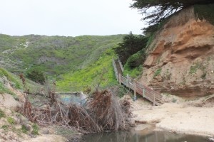 Stairs and drainage pipe to Gray Whale Cove