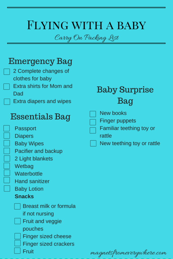 Flying with a baby checklist
