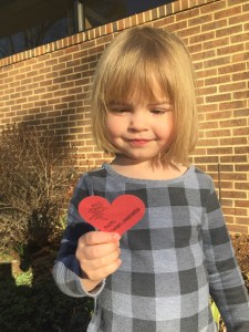 My daughter getting ready to hand out Valentine's Day cards at her Mandarin preschool