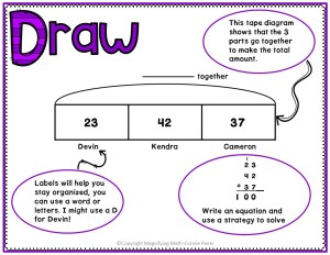 example of using a tape diagram or bar model to solve math word problems