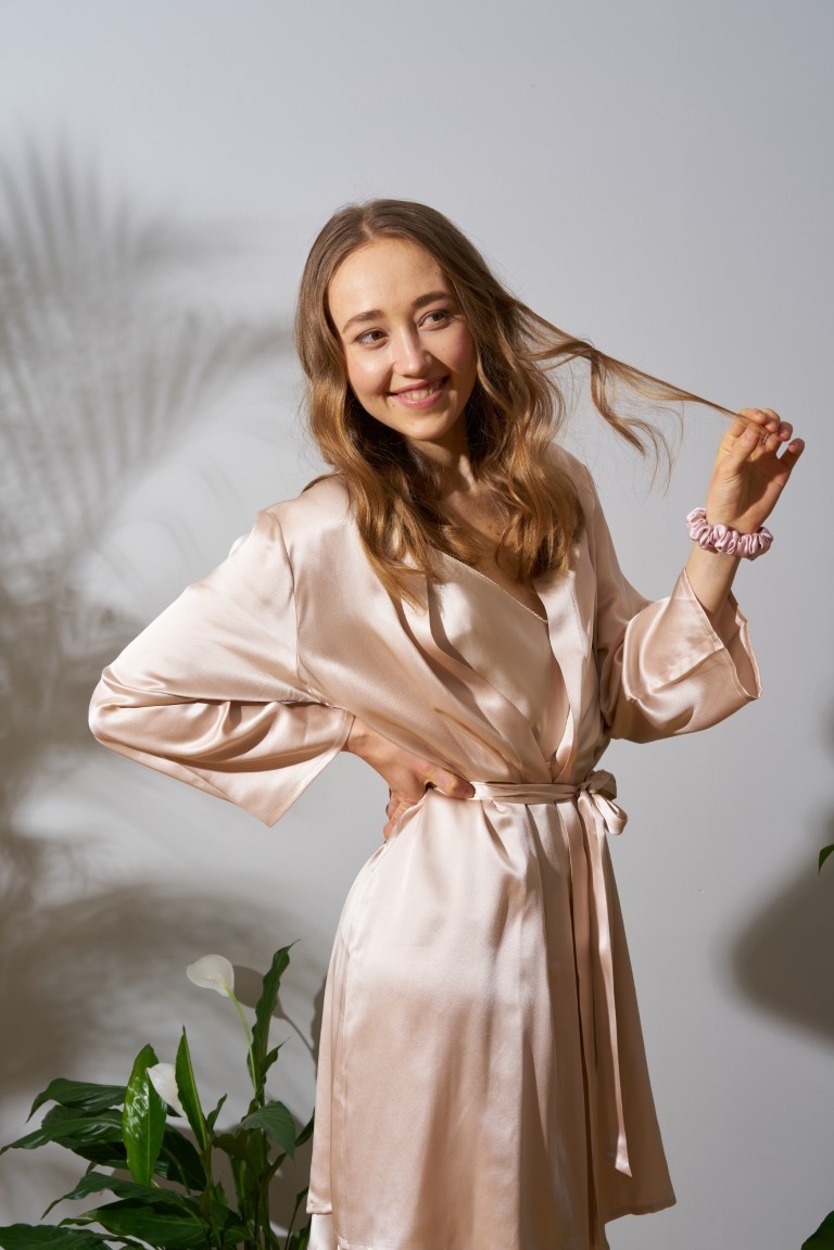 cream silk robe