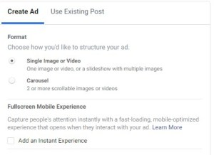 Full screen mobile experience when creating ad in Facebook Ads Manager