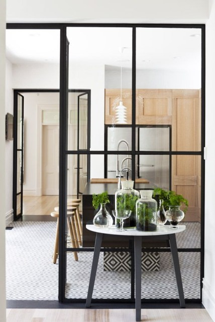 kitchen black frame windows