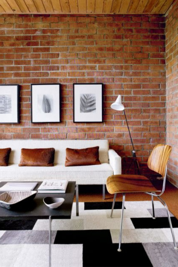 living room brick amber hues
