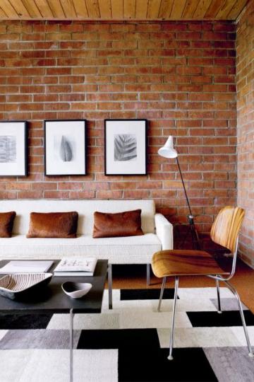 living room brick amber hues