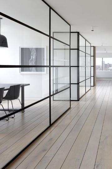 partitioning black framed windows