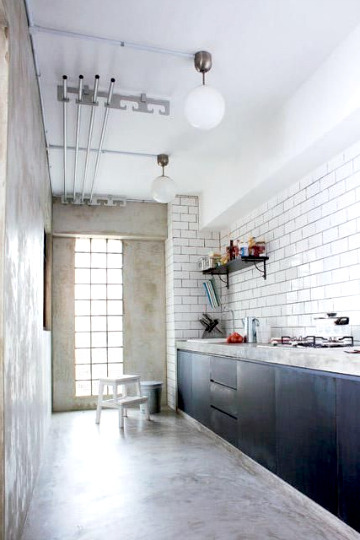concrete & brick tile kitchen