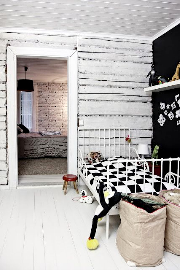 black and white kids rooms